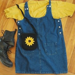 """no excuses"" denim pinafore dress"